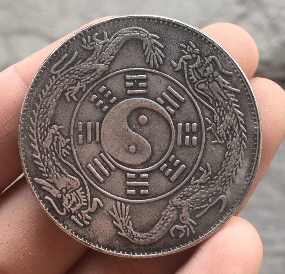 Elaborate Old Chinese Tibetan Silver Coin zhongwaitongbao Bagua Commemorative Coin