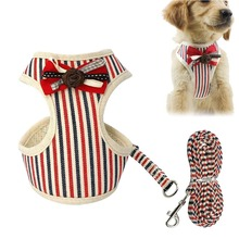 цена на New Fashion Dog Harness Leash Set Bow Stripe Pet Strap Soft Pet Vest Harnesses for Small Dogs Cat Outdoor Walking Puppy Leashes