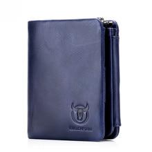 BULLCAPTAIN Mens Wallet Short Coin mens purse Genuine Cowhide  Brand High Quality Designer New Short Wallets cartera mujer