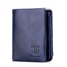 BULLCAPTAIN monedero corto de piel de vaca para hombre, cartera masculina de alta calidad, diseño corto