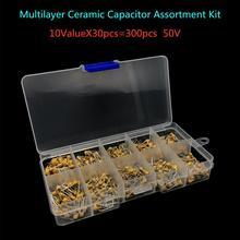 Capacitor de cerâmica multicamada, 300 peças 10 valor 50v 10pf 20pf 30pf 47pf 56pf 68pf 100pf 1nf 10resistente à múltipla camada capacitor de cerâmica sortimento kit de