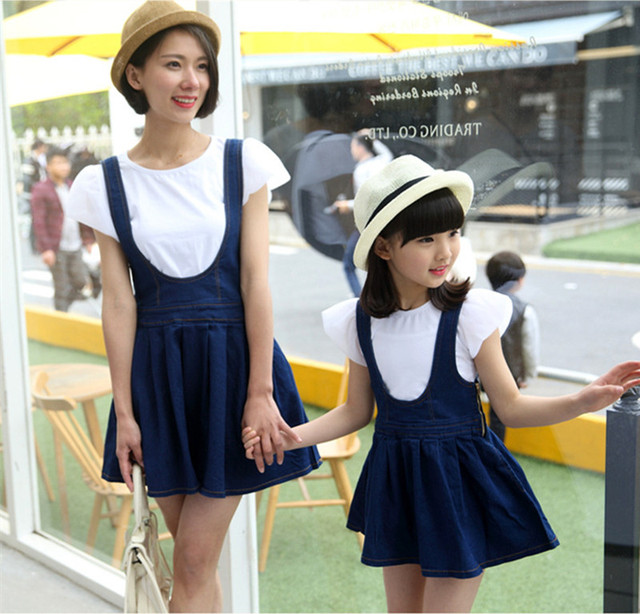 6e29fbf762 Korea Style White T-shirt With Bowknot Denim Skirt New Design Matching  Mother Daughter Dresses Family Look Jeans Clothes