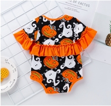 Baby Jumpsuit orange halloween pumpkin pink coco candy sugar skull Ruffle Girls Romper one Piece Outfit
