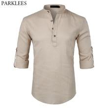 Mens Casual Cotton Linen Henley Shirt 20