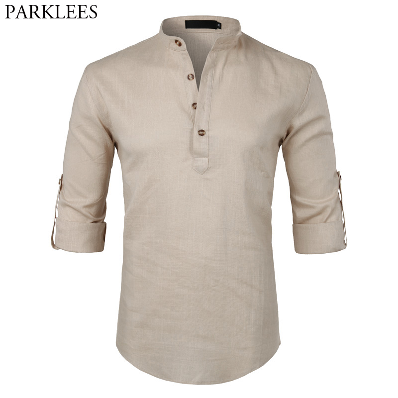 Mens Casual Cotton Linen Henley Shirt 2018 Brand New Roll-up Sleeve Dress Shirt Male Slim Fit Long Sleeve Camisa Masculina Beige