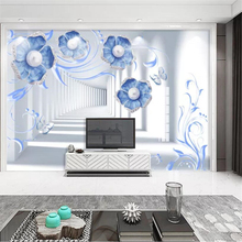 Custom wallpaper 3d European blue jewelry flower stereo TV background wall living room bedroom background painting 3d wallpaper free shipping european classical oil painting flower sea living room bedroom wallpaper 3d custom exhibition office gallery mural