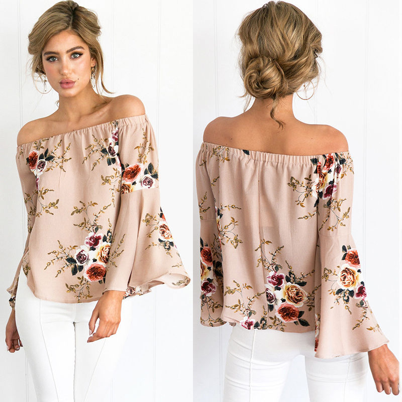 2017 Summer Women Floral Top Tshirt Tee Sexy Slash Neck Long Flare Sleeve  Boardwalk Off Shoulder Tops Plus Size Women s T Shirts-in T-Shirts from  Women s ... 6ae4b3c985