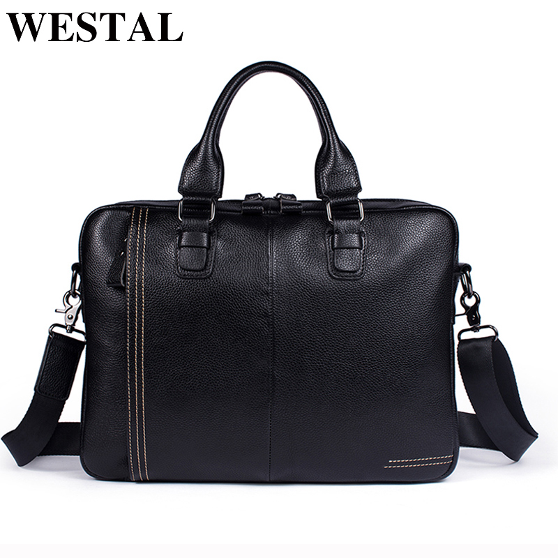 WETSAL Leather Laptop Bag Male Genuine Leather Shoulder Bag Casual Crossbody Bags for Men Messenger Bags Handbags Totes New 8122 amonchy genuine leather men shoulder bags handbags crocodile male bags natural leather man messenger bag alligator totes sac m50