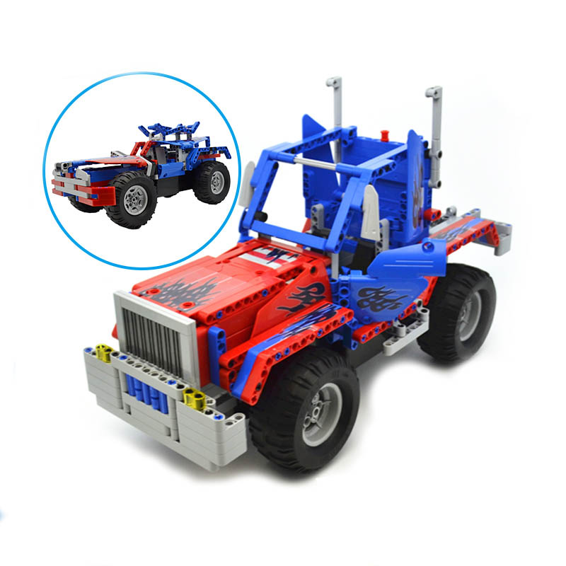 2 IN 1 Building Block Toys Convoy Truck Remote control Car Assembled Blocks Toys Gift 531pcs Building Blocks Blue Car Model 608pcs race truck car 2 in 1 transformable model building block sets decool 3360 diy toys compatible with 42041