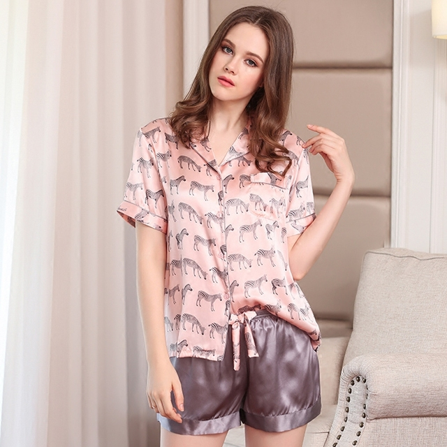 e921150f226a 100% Silk Pajamas Women Sleepwear Pink Zebra Printing Summer Short Sleeve  Pyjama Shorts Sets Pure Silk Home Clothing D2108-1