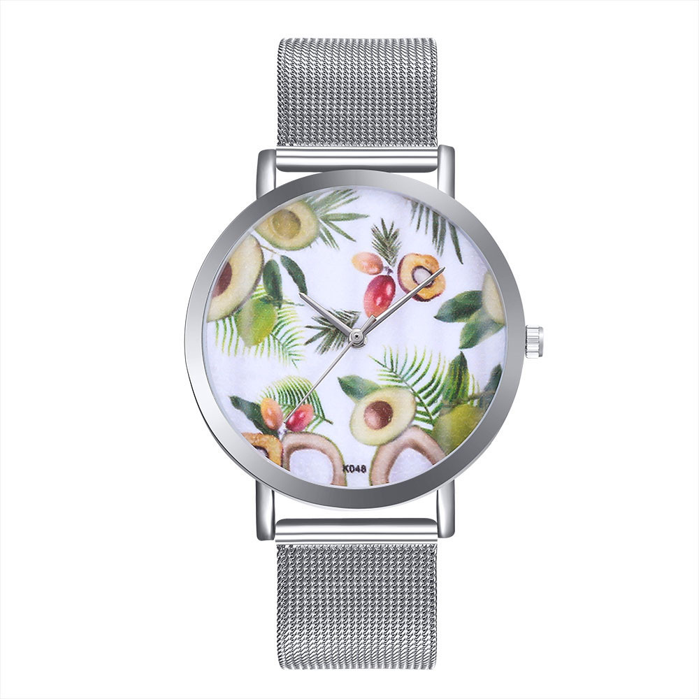 Luxury Stylish Watch Woman ladies Avocado Pattern Alloy Steel Strap Analog Quartz Round Watches relogio feminino reloj mujer A60