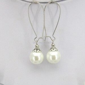 Украшения для женщин, круглые жемчужные шарики 12 мм белого и серого цвета, ожерелье, браслет, серьги, набор, дизайн ювелирных изделий