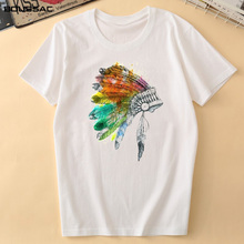2019Camiseta Mujer Tribal Feather Crown Print T-shirt Female Tees Women Clothes Fashion Harajuku Cotton Shirt Summer Casual Tops open shoulder tribal print t shirt dress