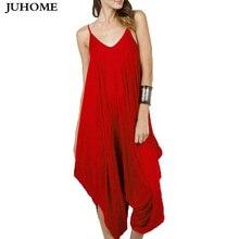 2017 винтажные повседневные пикантные вечерние красный комбинезон Женщины без рукавов широкие брюки комбинезоны летние Style длинные штаны-шаровары плюс Размеры комбинезоны