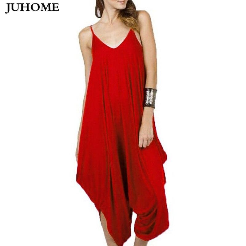 2017 Vintage Casual sexy party rot Strampler Frauen Sleeveless Breiten Bein Overalls Sommer stil Lange Pluderhose Hosen Plus Größe Overalls