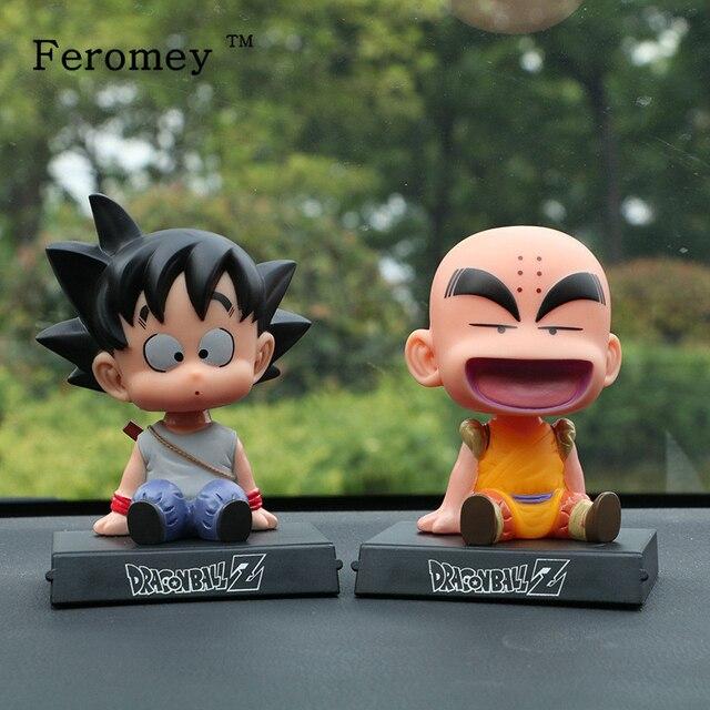 Japão Anime Dragon Ball Z Goku Kuririn Suporte Do Telefone Decoração Do Carro Balançando A Cabeça Da Boneca Dragon Ball Action Figure Boneca de Brinquedo 12cm