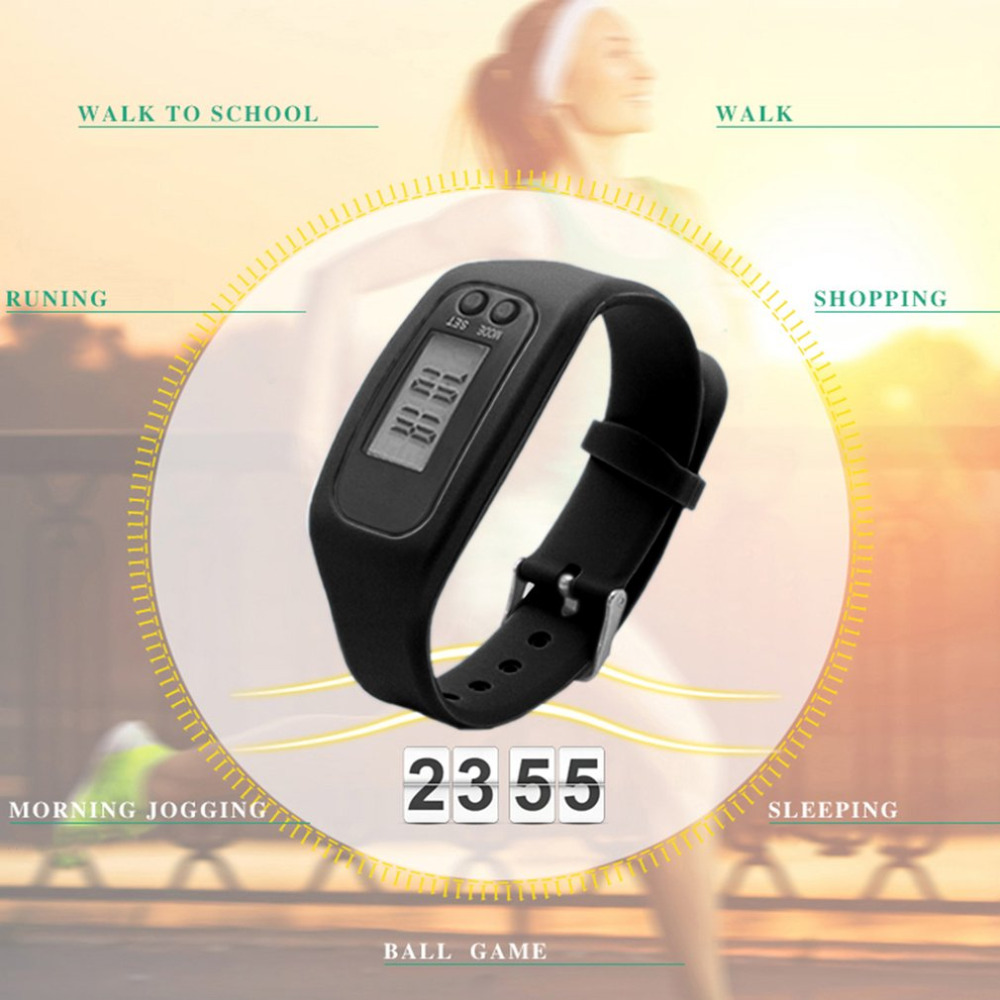 LCD Smart Wrist Watch Bracelet Pedometer Sports Monitor Running Exercising Step Counter Fitness Silicone