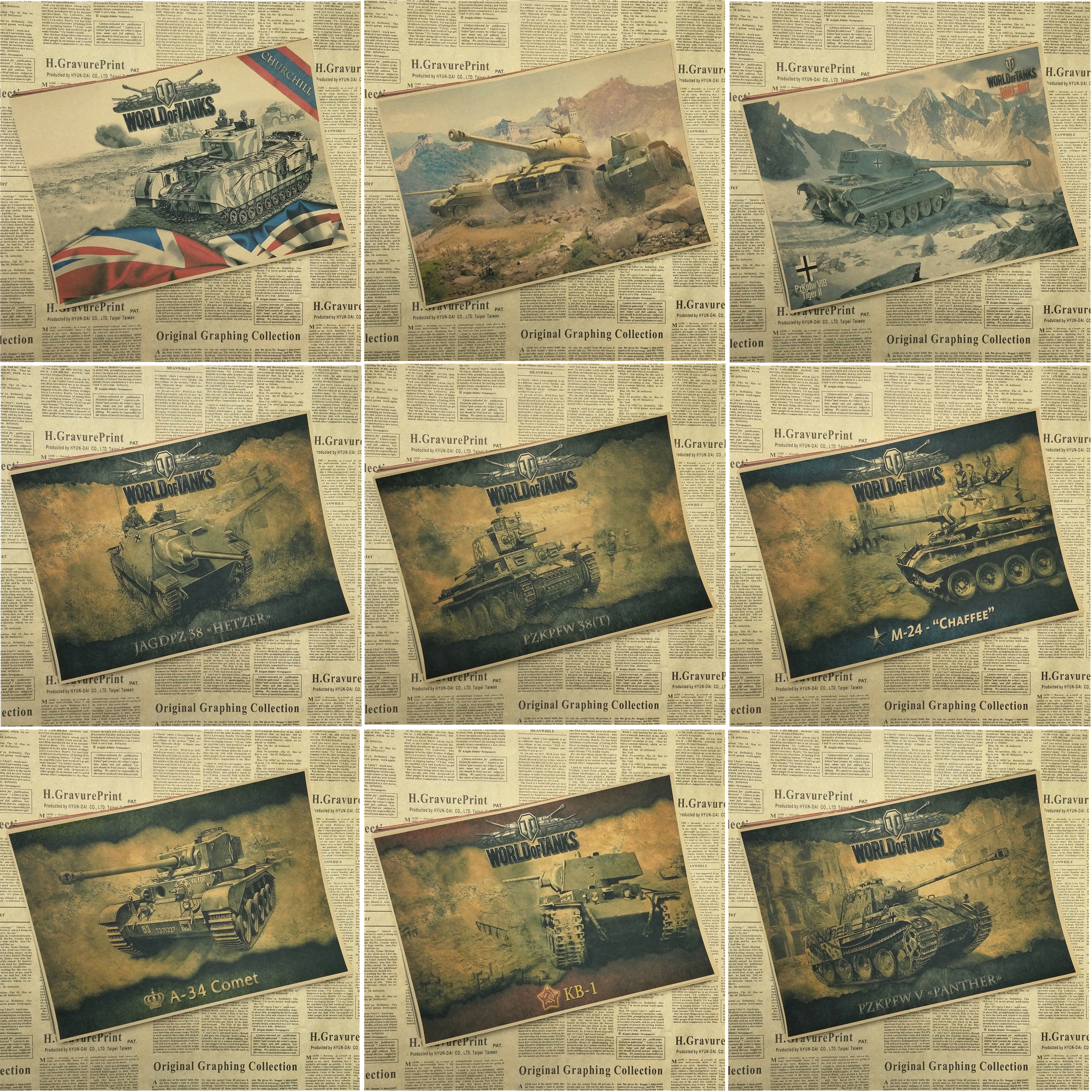 World of Tanks WOT A gather The Second World War Tank Home Furnishing decoration Kraft Game Poster Drawing core Part 1