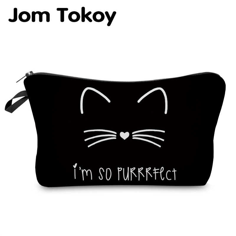 Jom Tokoy  cosmetic organizer bag Pure black Cute cat prints Cosmetic Bag Fashion Women Brand makeup bag