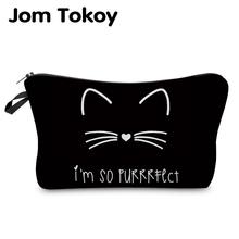 Jom Tokoy 2018 kosmetyczka Organizator torba czysta czarna cute kot drukuje kosmetyczka moda damska torba marki makijaż tanie tanio Futerały kosmetyczne Zamek 13 5 cm Literę hzb885 18-22cm Poduszkę Poliester Pani 100 poliester