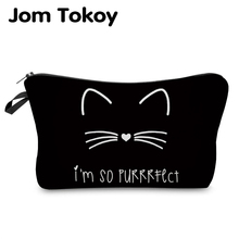 Jom Tokoy bolso organizador de cosméticos puro negro lindo estampado de gato bolso cosmético de moda mujer marca bolsa de maquillaje