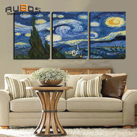 RUBOS DIY 5D Diamond Embroidery Van Gogh Triptych Diamond Painting Wall Modular Picture Needlework The Starry