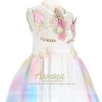 Unicorn Girls Dress Rainbow Embroidery Toddler A Line SundressPrincess Kids Dresses For Girls Party Tutu Summer