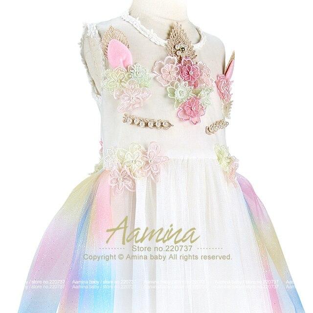 Unicorn Girls Dress Rainbow Embroidery Toddler A Line Sundressprincess Kids Dresses
