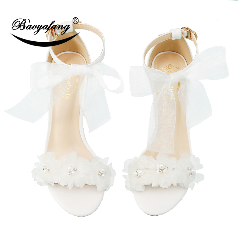 BaoYaFang New Arrival Summer Flower hot party Sandals Women wedding shoes female fashion shoes for woman