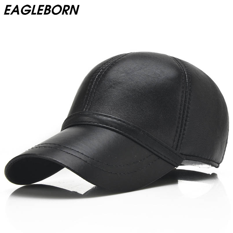 black leather baseball cap wholesale faux with fur pom new fall winter fashion high quality genuine font