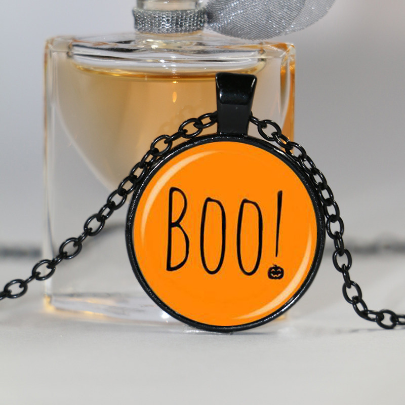 CUTE Halloween jewelry spooky orange and black boo funny pastel goth soft grunge festive necklace pumpkin jewelry