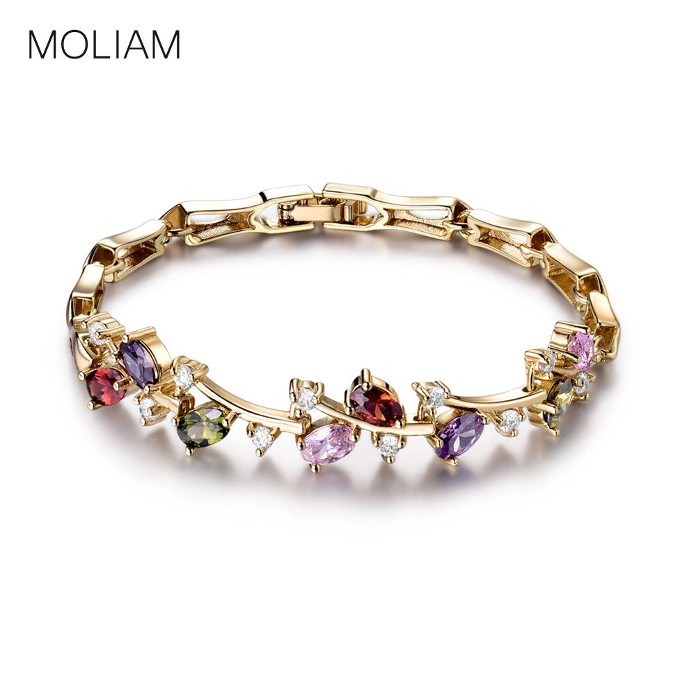 MOLIAM Stunning Lady Engagement Bracelets Fashion Oval Brilliant Crystal AAA Cubic Zirconia Link Chain Bracelet for Women MLL100