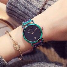مشاهدة النساء الموضة الملونة الفولاذ المقاوم للصدأ السيدات ساعة فاخرة رائعة المرأة الساعات reloj mujer relogio feminino