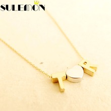 Personalised Monogram Initial Necklace Fine Gold Color Chain Heart Pendant Letter Name Necklaces Couple Love Gift For Her B0517