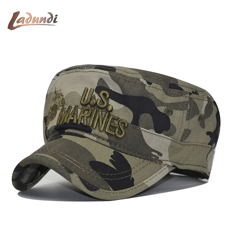 b0e4e091 2018 United States US Marines Corps Cap Hat Military Hats Camouflage Flat  Top Hat Men Cotton