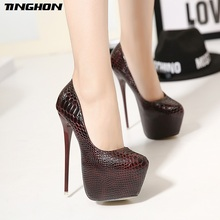 TINGHON New Snakeskin Pumps 16 CM high With Club heels Sexy high-heeled shoes Round Toe Women