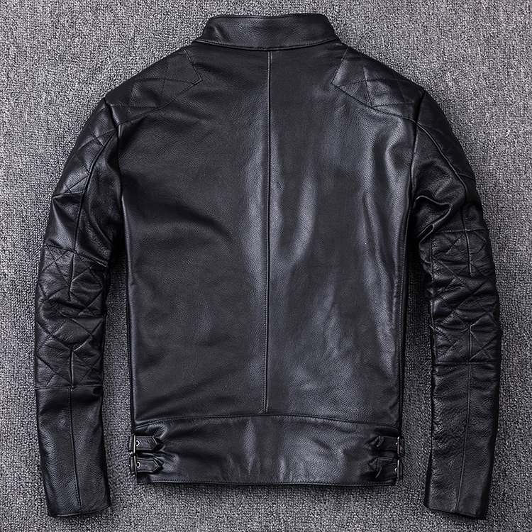 motor style genuine leather jacket cowhide