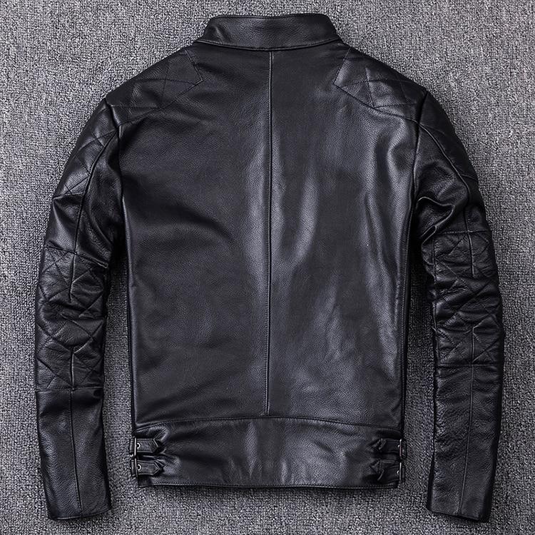 HTB1 7.qajzuK1Rjy0Fpq6yEpFXat Brand new style motor style leather jacket,mens genuine leather coat.plus size black slim jacket.cowhide.cheap