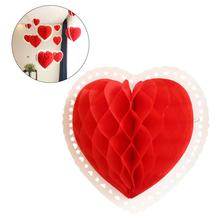 3D Paper Love Heart Lantern Hanging Decoration Ornaments to Valentines Day Wedding Birthday Party 24cm