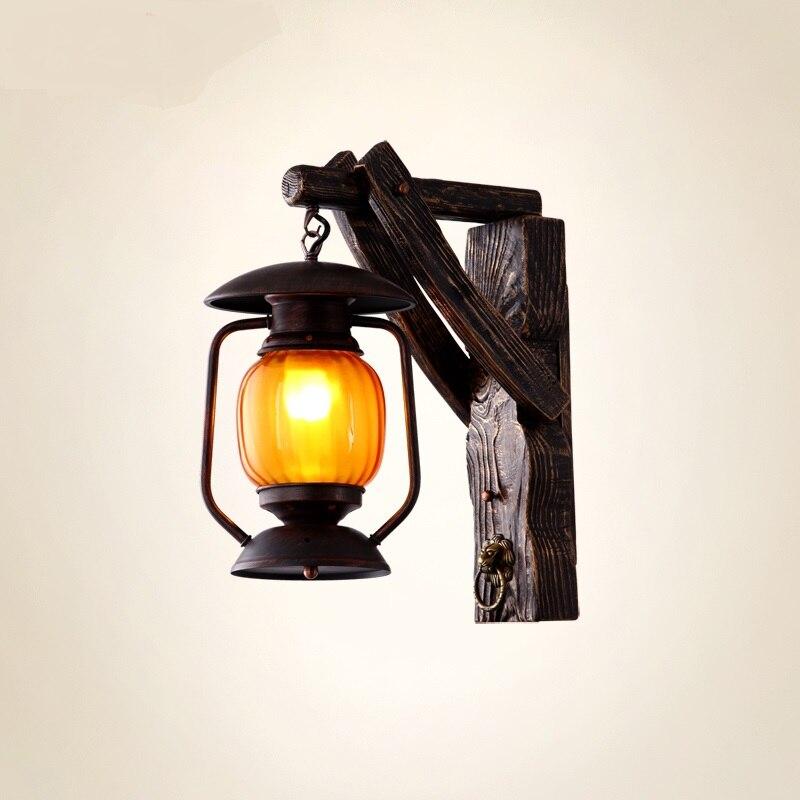 Американский кантри архитектура старинные деревянные стены Бра Лампа бар ресторан Китайский античный лампа загорается ZS85