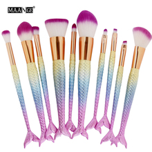 Best Deal New MAANGE Fashion 10PCS Mermaid Tail Make Up Foundation Eye Shadow Blush Cosmetic Concealer Brushes
