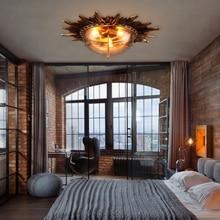 Lámpara led e27 Vintage Athena de resina de cristal de hierro, lámpara LED, luces de techo, luz LED de techo, lámpara de techo para el vestíbulo del dormitorio