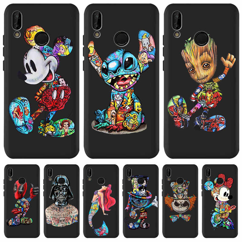 Mickey Groot Stitch Marvel untuk Huawei P8 P10 P20 P30 Mate 10 20 Honor 8 8X 8C 9 10 V20 lite Plus Pro Case Cover Coque Etui Funda