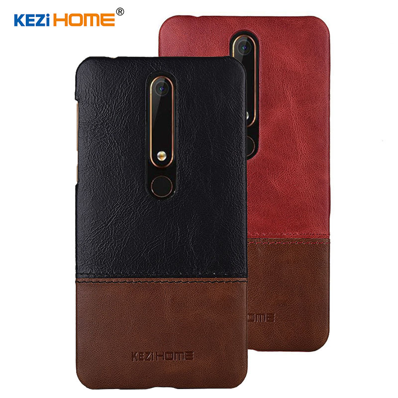 Case for Nokia 6 2018 KEZiHOME Luxury Hit Color Genuine Leather Hard Back Cover For 2018 Nokia 6 Second generation 2th cases