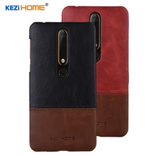 Case for Nokia 6 2018 KEZiHOME Luxury Hit Color Genuine Leather Hard Back Cover For Nokia 6.1 Second generation 2th cases