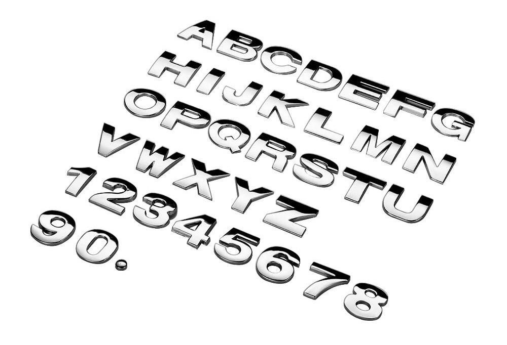 HTB1 70Cg9YH8KJjSspdq6ARgVXau - 25mm Car Auto Chrome Metal DIY 3D ARC Letters Digital Alphabet Emblem