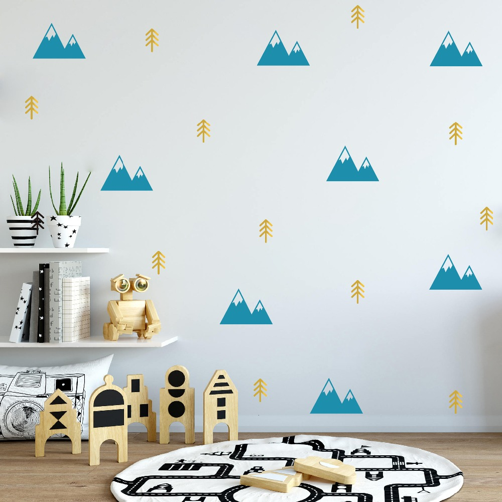 Mountains And Tree Sticker Boys Nursery Decor Vinyl Removable Diy Wall Stickers Bedroom Self Adhesive Art Mural Jw582
