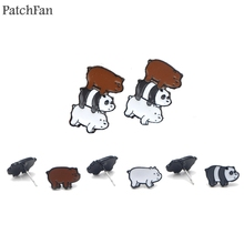 Patchfan We bare bears cartoon funny anime design for earrings party favors jewelry girlfriend birthday presents A1563