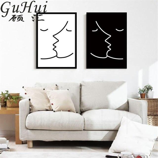 Tienda Online Blanco y Negro resumen beso pintura decorativa no ...