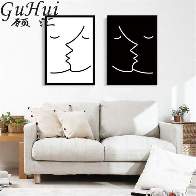 Zwart wit Abstracte Kus Decoratief Schilderen Geen Frame Lijn ...